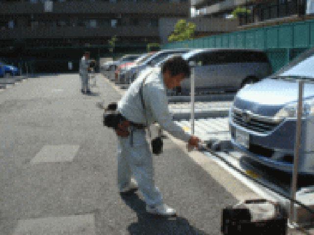 粉末消火設備-ホース点検と清掃